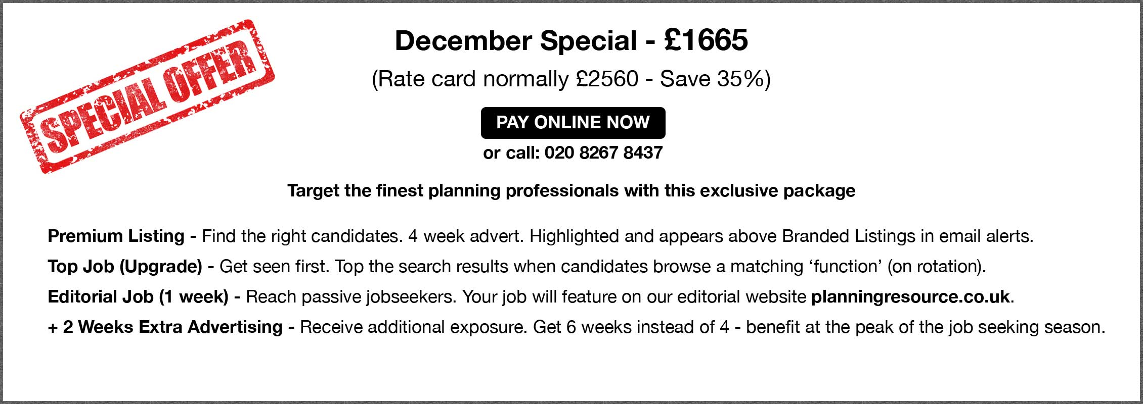 Special Offer. December Special - £1665.