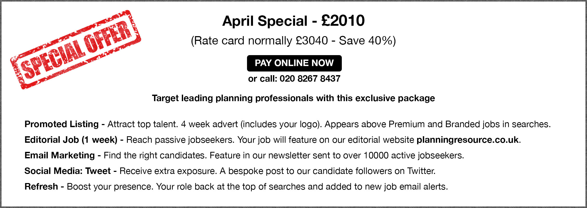 Special Offer. April Special - £2010.